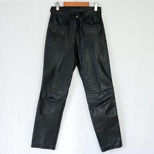Black high waisted vintage 90s genuine leather pants